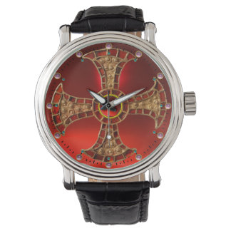 ANTIQUE CONSECRATION CROSS Red Ruby Gemstones Wristwatch