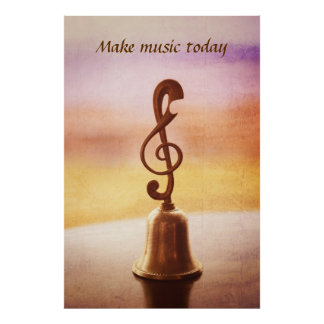 Antique Copper Handbell with G-Clef Handle Poster