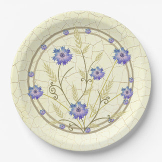Antique Crackle-finish Cornflower and Wheat 9 Inch Paper Plate