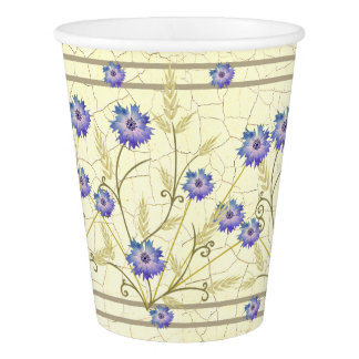 Antique Crackle-finish Cornflower and Wheat Paper Cup