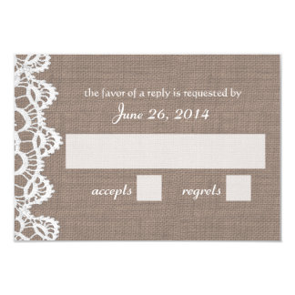 Antique Crochet Lace and Burlap RSVP Card