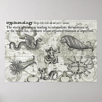 Antique Cryptozoology Map Print
