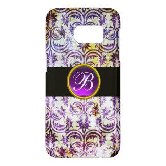 ANTIQUE DAMASK Purple Amethyst Monogram black Samsung Galaxy S7 Case