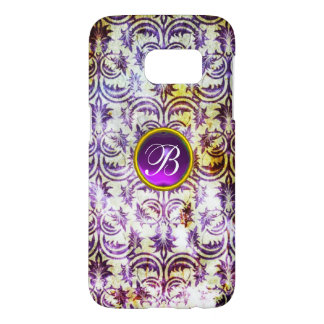 ANTIQUE DAMASK Purple Amethyst Monogram black Samsung Galaxy S7 Case