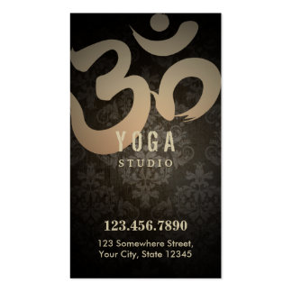 Antique Damask Yoga Loyalty Punch Business Card