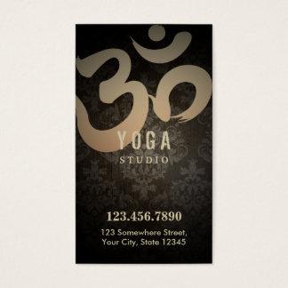 Antique Damask Yoga Loyalty Punch Business Card