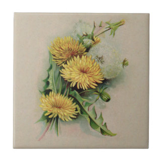 Antique Dandelion Ceramic Tile