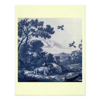 Antique Delft Blue Tile - Cattle and Birds Invitation