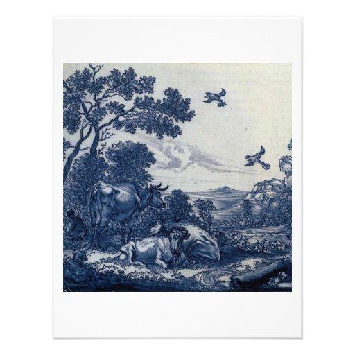 Antique Delft Blue Tile - Cattle and Birds Personalized Announcement