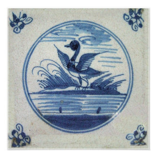 Antique Delft Blue Tile - Duck in the Water Custom Announcements