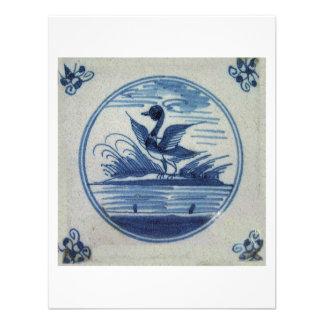 Antique Delft Blue Tile - Duck in the Water Announcements