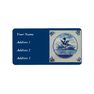 Antique Delft Blue Tile - Duck in the Water Label
