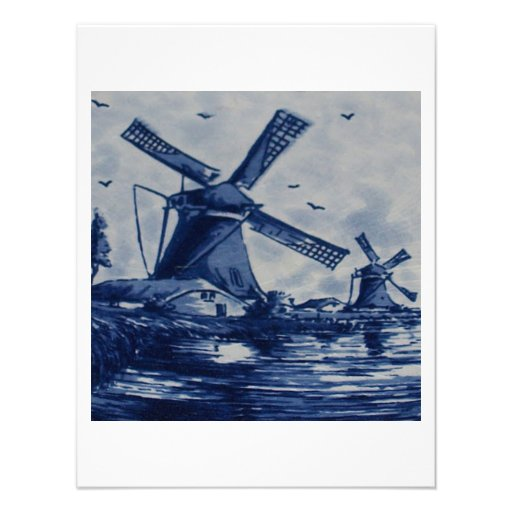 Antique Delft Blue Tile - Windmills by the Water Custom Invites