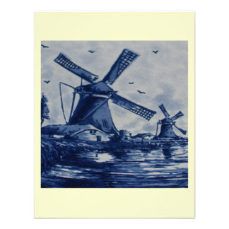 Antique Delft Blue Tile - Windmills by the Water Personalized Announcements