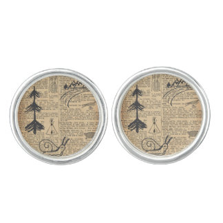 Antique Dictionary Page with Doodles Sepia Black Cufflinks