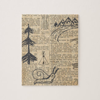 Antique Dictionary Page with Doodles Sepia Black Jigsaw Puzzle