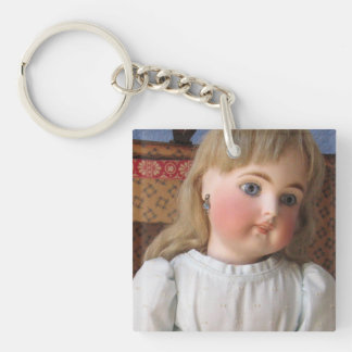 Antique Doll in Blue Dress Key Chain, Customizable Keychain