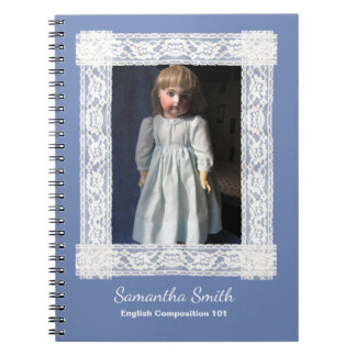 Antique Doll in Blue Dress Notebook, Customizable Notebook