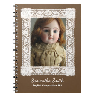 Antique Doll in Brown Dress Notebook, Customizable Spiral Notebook