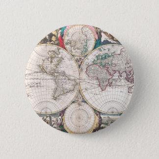 Antique Double-Hemisphere World Map 2 Inch Round Button