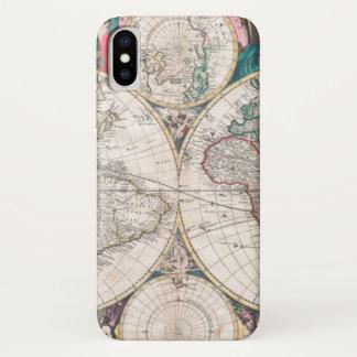 Antique Double-Hemisphere World Map iPhone X Case