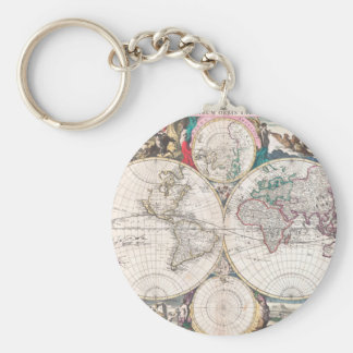 Antique Double-Hemisphere World Map Keychain