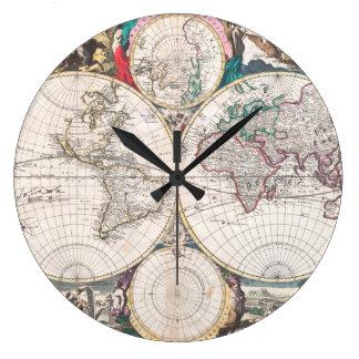 Antique Double-Hemisphere World Map Large Clock