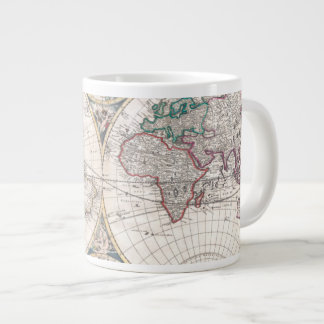 Antique Double-Hemisphere World Map Large Coffee Mug