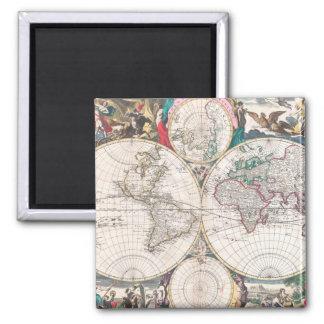 Antique Double-Hemisphere World Map Magnet