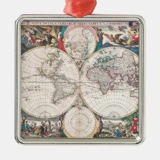 Antique Double-Hemisphere World Map Metal Ornament