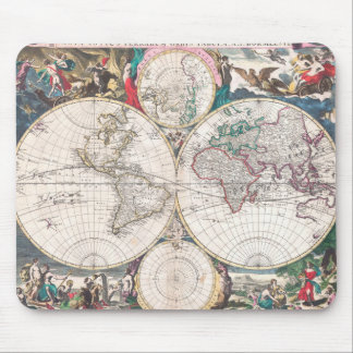 Antique Double-Hemisphere World Map Mouse Pad
