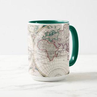 Antique Double-Hemisphere World Map Mug