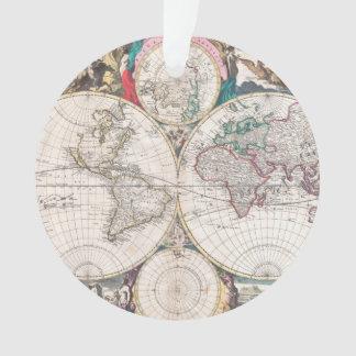 Antique Double-Hemisphere World Map Ornament