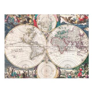 Antique Double-Hemisphere World Map Postcard