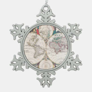 Antique Double-Hemisphere World Map Snowflake Pewter Christmas Ornament