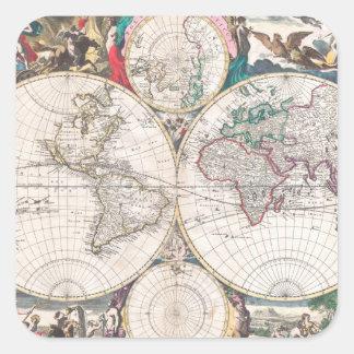 Antique Double-Hemisphere World Map Square Sticker