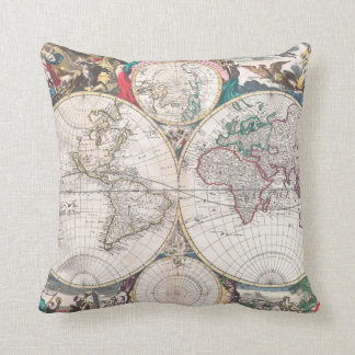 Antique Double-Hemisphere World Map Throw Pillow