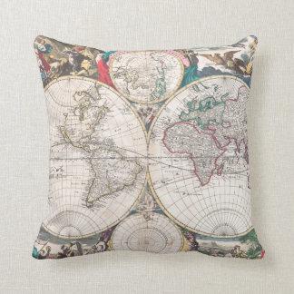 Antique Double-Hemisphere World Map Throw Pillow