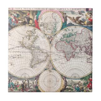 Antique Double-Hemisphere World Map Tile