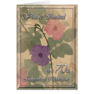 Antique Dusty Rose 70th Anniversary Card