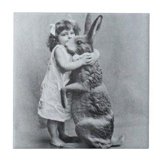 Antique Easter Post Card Victorian Girl Bunny Tile