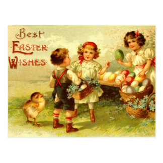 Antique Easter Postcard Children Chicks Nostalgic