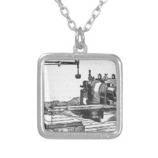 Antique Engineering Tool Vintage Ephemera Silver Plated Necklace