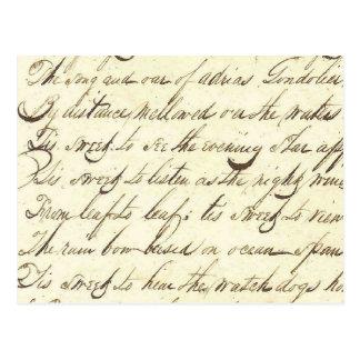 Antique Ephemera Cursive Calligraphy Script Poetry Postcard