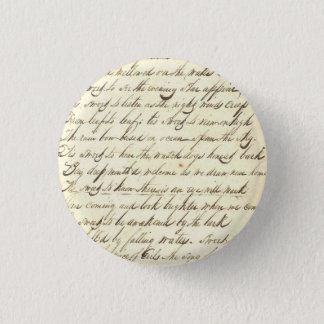 Antique Ephemera Cursive Calligraphy Script Sample 1 Inch Round Button