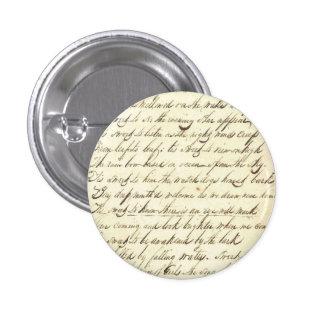 Antique Ephemera Cursive Calligraphy Script Sample 1 Inch Round Button