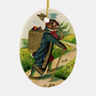 Antique Erudite Easter Rabbit Oval Ornament