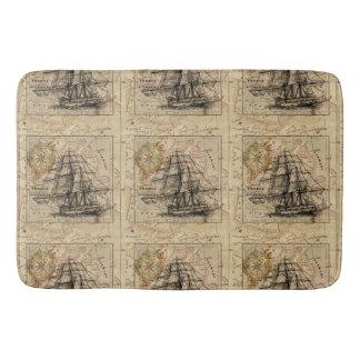 Antique Europe Map Ship Sail Nautical Marine Bathroom Mat