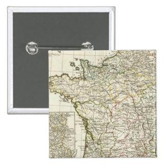 Antique European Map 2 Inch Square Button
