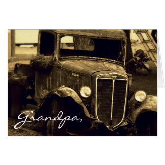 Antique  Farm Truck Sepia Photograph Card